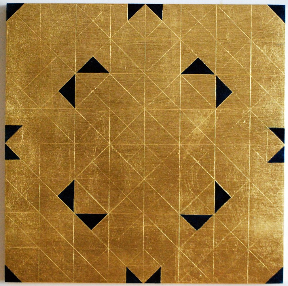 "Peace Study III, 2016, Oil and patina on gold-leafed panel, 12"" x 12"""