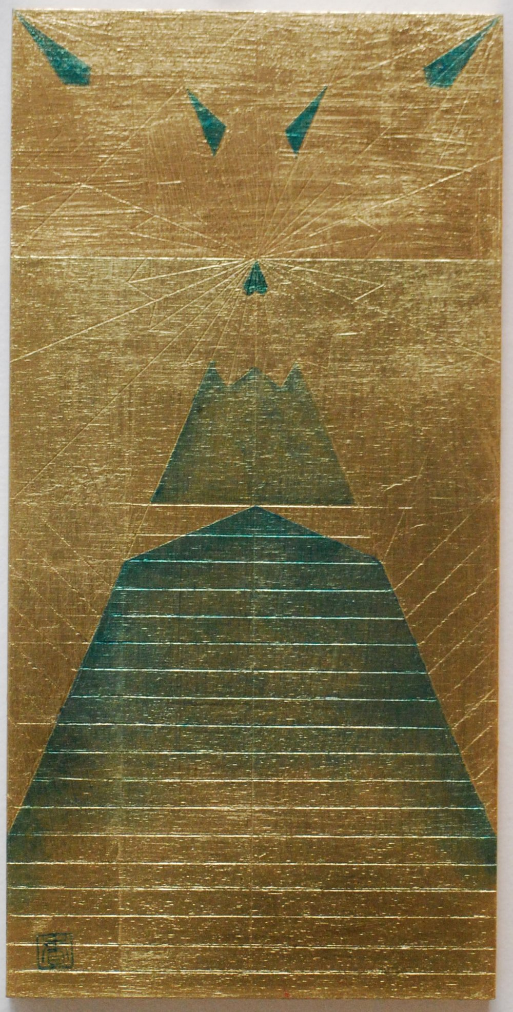 "Peace Study IV, 2016, Oil and patina on gold-leafed panel, 12"" x 6"""
