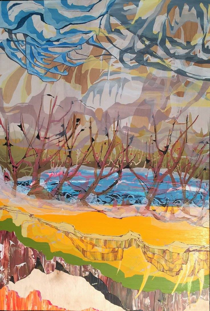 "NPD-029, Canola Cliffs To Killarney Lake, 2016, Acrylic on wood, 40"" x 28.5"""