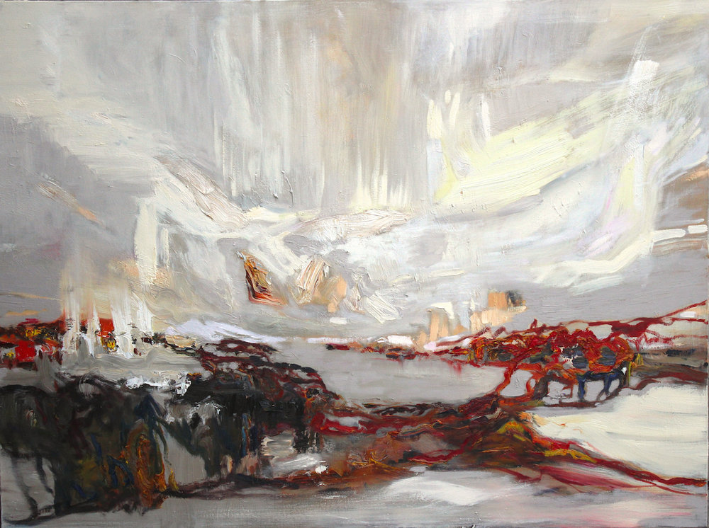 "LJ-029, Traces, Iceland, 2016, Oil on Canvas, 16"" x 40"""