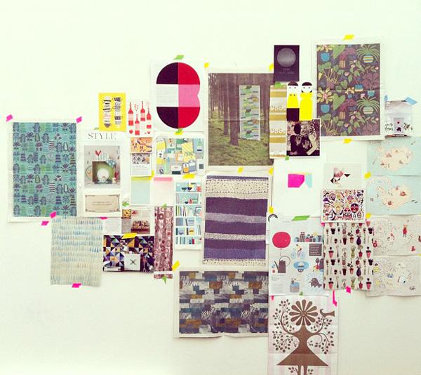 Lisa Congdon's studio: the Inspiration Wall