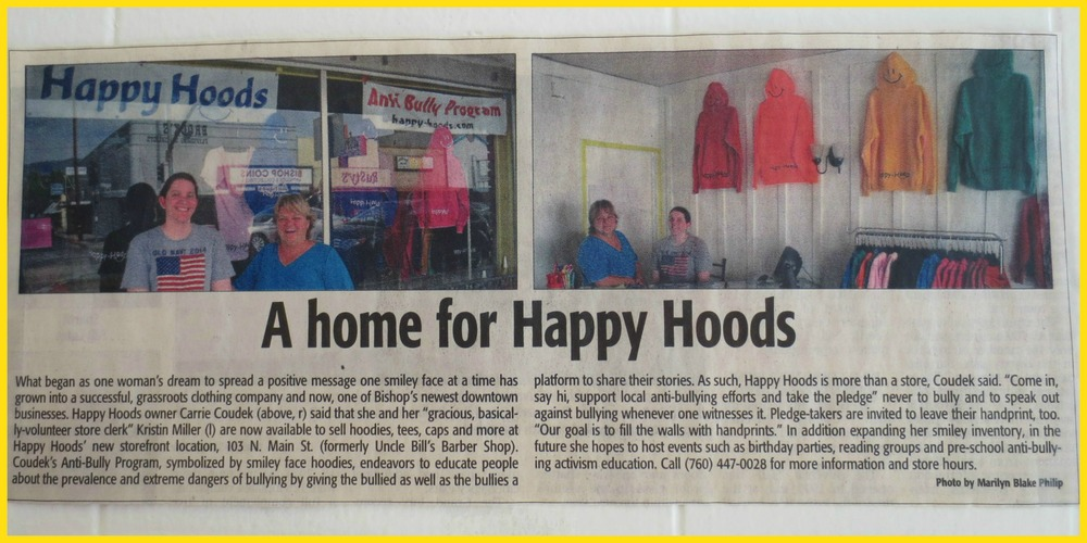 "An Article about the ""Happy Hoods Anti-Bully Program"" in the Inyo Register."