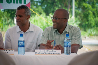 CAPTION: From left, Errol Catouse, Chairman of the Belize Internet Exchange Point and Bevil Wooding, Internet Strategist at Packet Clearing House, share a light moment at the launch of the Belize Internet Exchange Point in Belize City, Belize on April 27, 2016.