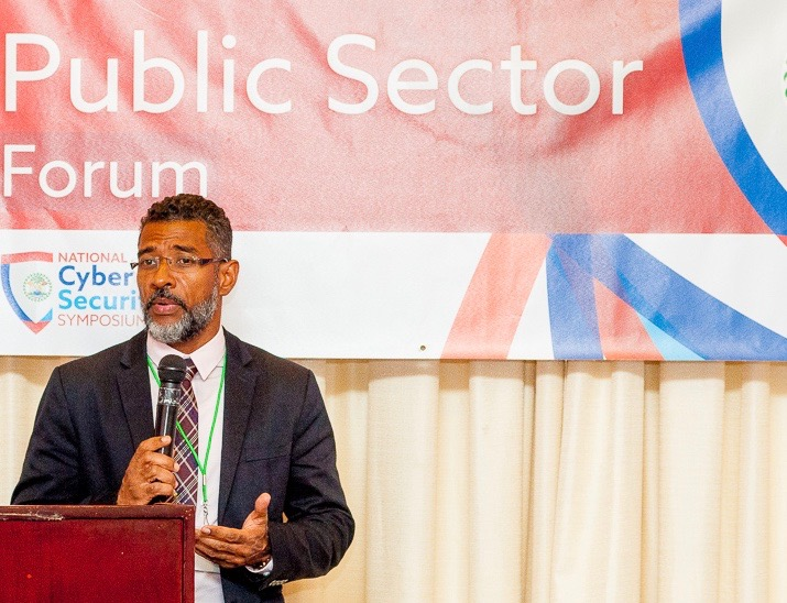 CAPTION: Sean Fouché, Information and Communications Technology Manager at CARICOM IMPACS, speaks at Belize's first-ever national cybersecurity symposium, held in Best Western, Biltmore Plaza, Belize City from April 24 to 28, 2017. Photo courtesy Caribbean Network Operators Group.