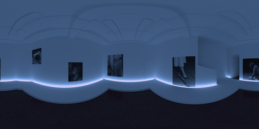 //// Test render of gallery space displayed as a panoramic to understand possible layout, lighting and floor installation