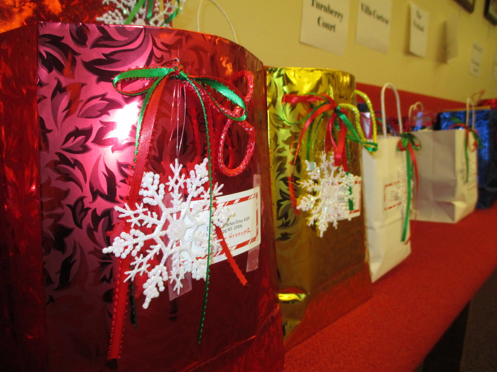 Christmas Gift bags for members who are home based or living in care facilities