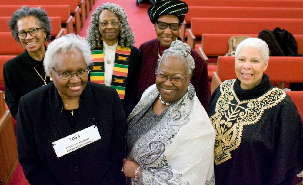Front Row from Left to Right:  Rev. Suzette Haynes, Rev. Dr. Ramonia Lee, Kehembe  Eichelberger.                                            Back Row from left to right:  rev. Barbara Steinbergen McKenzie, Sister Barbara Spears, Rev. Diane Hugger