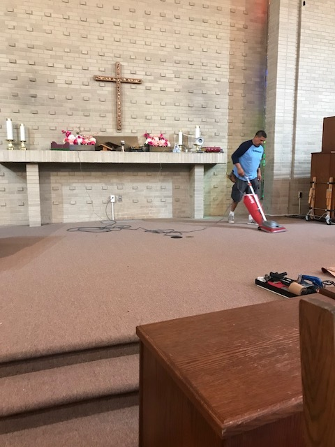 New beige carpeting in the chancel