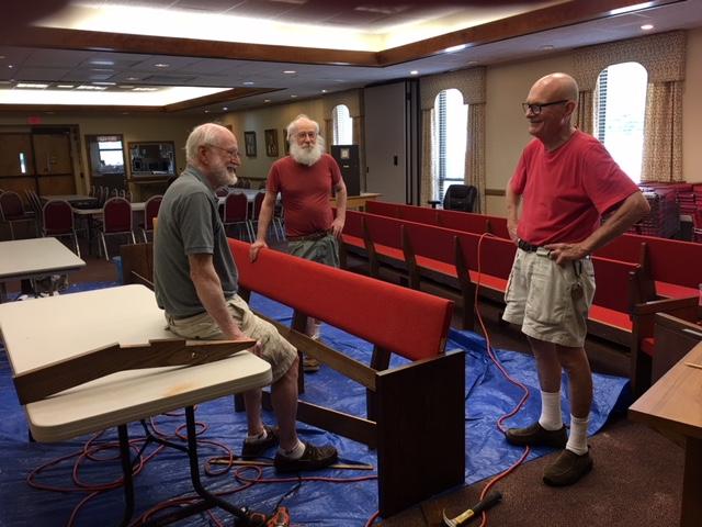 Wood Shop team volunteered their expertise to shorten pews.