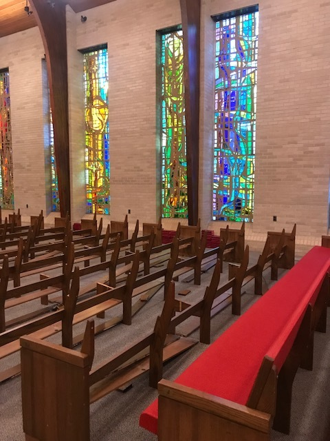 On Monday, August 20 the front pews have been taken away for                   reupholstering.