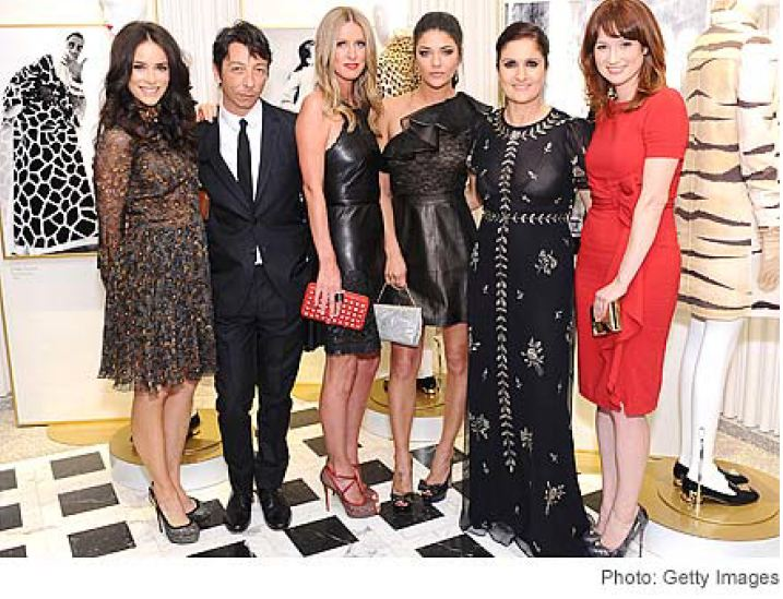 Photo: (Left to right) Abigail Spencer, Pierpaolo Piccioli, Nicky Hilton, Jessica Szohr, Maria Grazia Chiuri and Ellie Kemper