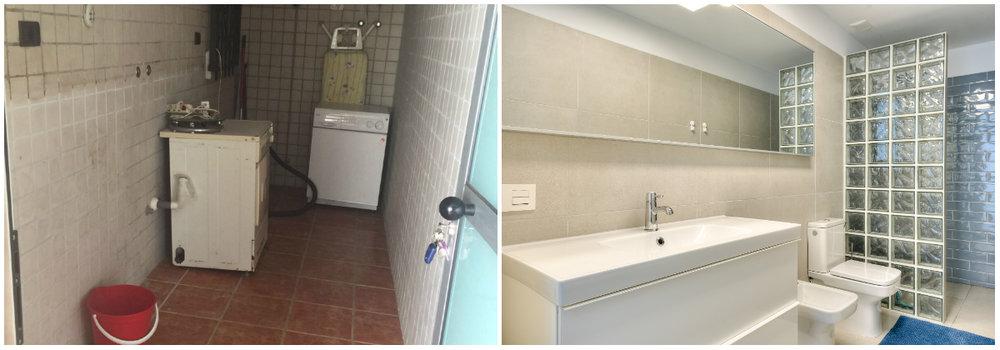 Pagrindinio miegamojo vonios kambarys anksčiau buvo sandėlys, kurį savininkai naudojo kaip skalbyklą.