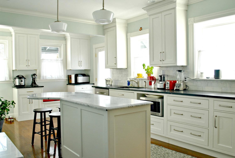 vintage victorian kitchen remodel in dorchester, ma — kitchen