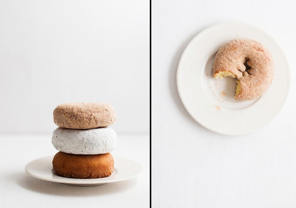 Three Winn Dixie Cake Doughnuts on Small White Plate with White Background.