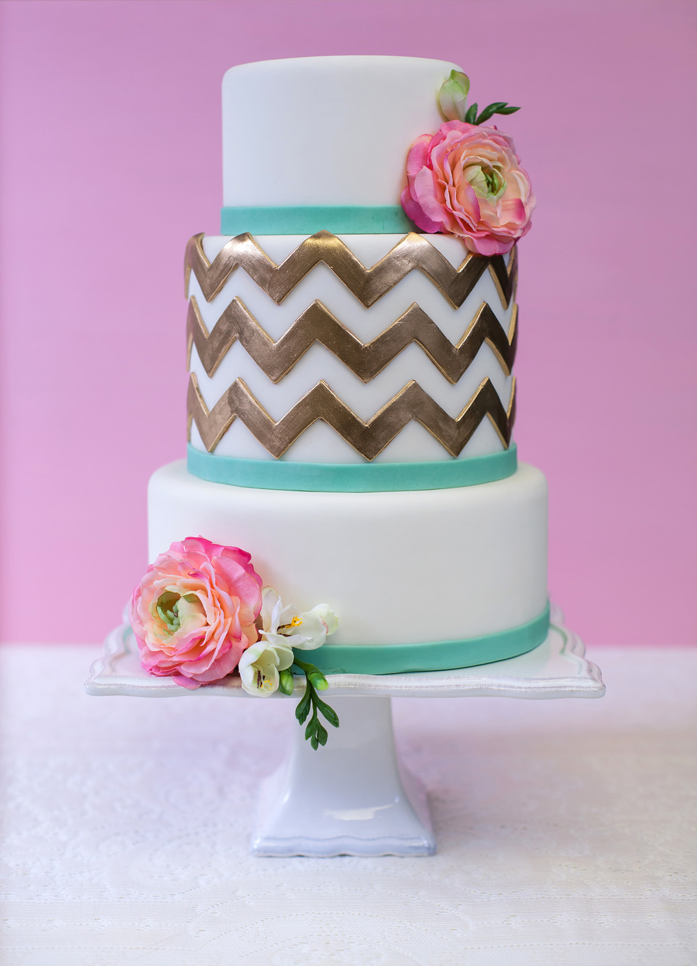 Mobile Bay Bride 2014 White and Gold Chevron Wedding Cake
