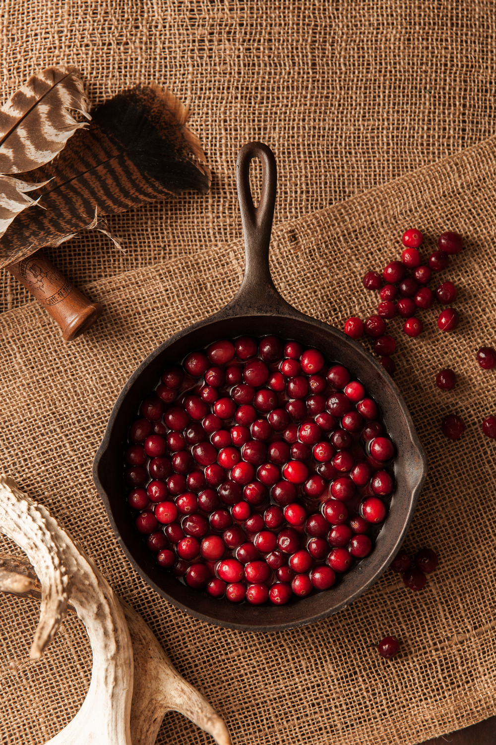 Cranberries in Cast Iron Skillet