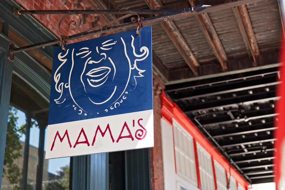 Front sign for Mama's Fried Chicken Restaurant on Dauphin St in Mobile, Alabama.