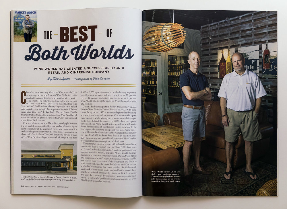 First two pages of the article about Chan Cox's Wine World in Destin, Florida.