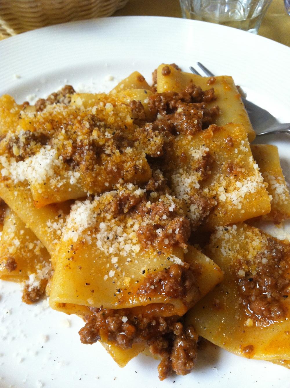 bolognese on paccheri pasta