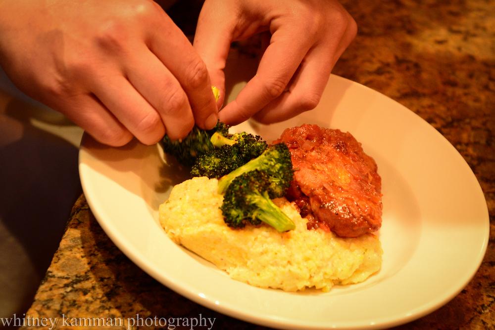 plating chicken cacciatore, roasted broccoli & polenta
