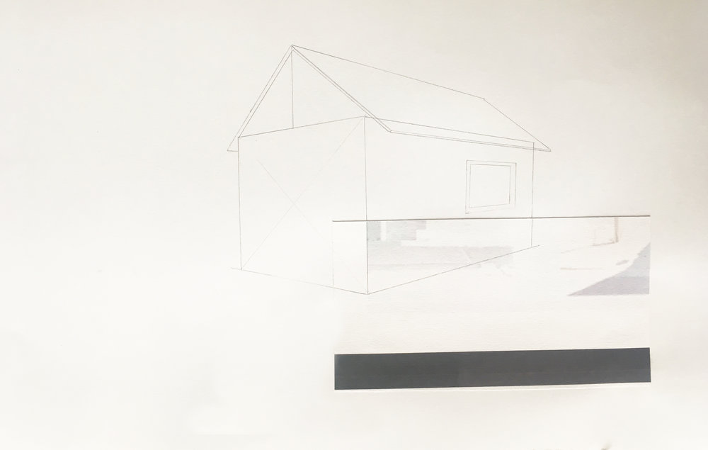 "Generic House - Drawing    Graphite & collage on paper, study in shape and perspective  9"" x 12""  2018  $225 unframed + shipping"
