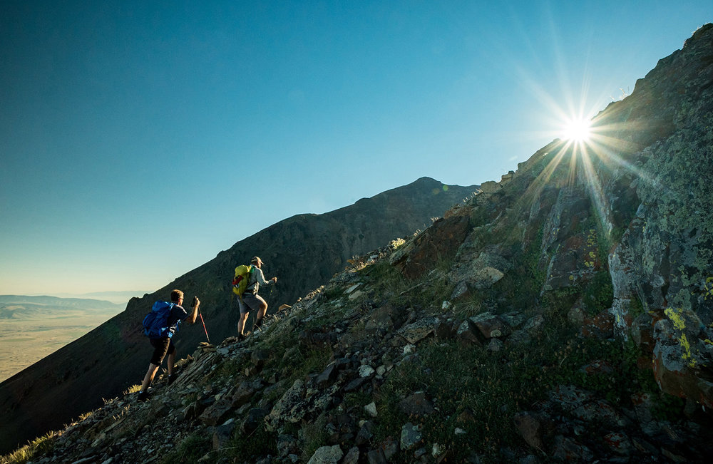 Into the Sun and up Emigrant Peak