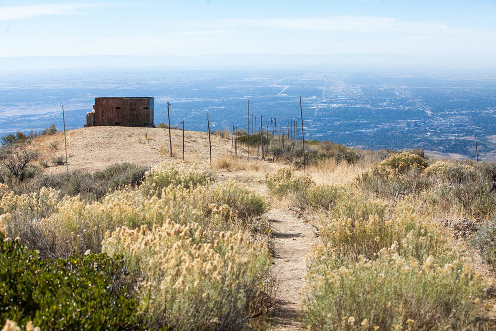 The Lucky Peak Intermountain Bird Observatory wooden blind sits perched above Boise, Idaho.