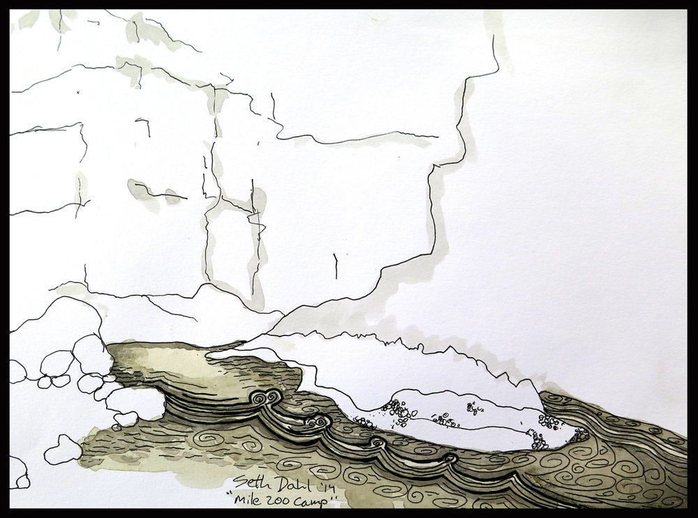 "Mile 200 Camp. The Colorado River has a ""Pool Drop"" feel and this drawing shows many of it's characteristics with slow pools that flow into the rapids followed by large eddies at the bottom."