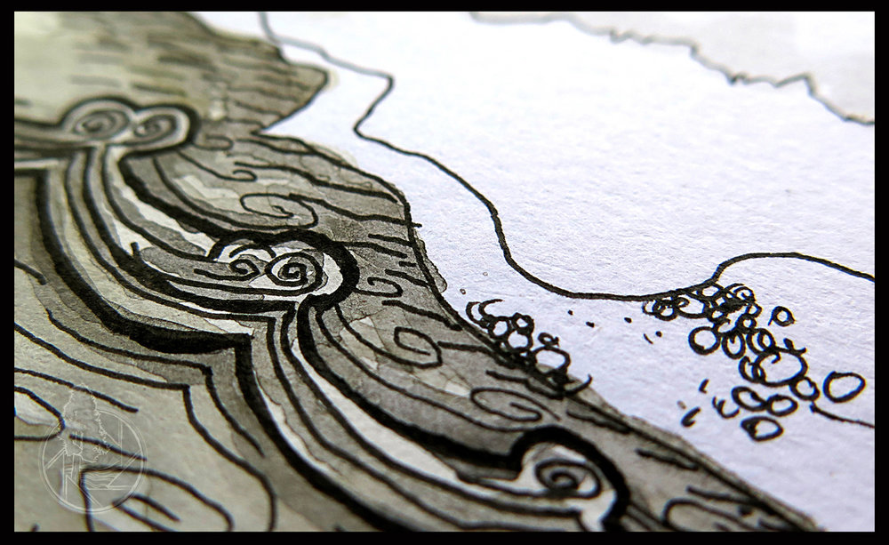 "Detail of Mile 200 Camp Waves. The large ""Wave Trains"" on the Colorado River offer up a fun ride in a kayak or a raft and can easily flip a boat upside down.  Medium:   India Ink with a coffee wash."