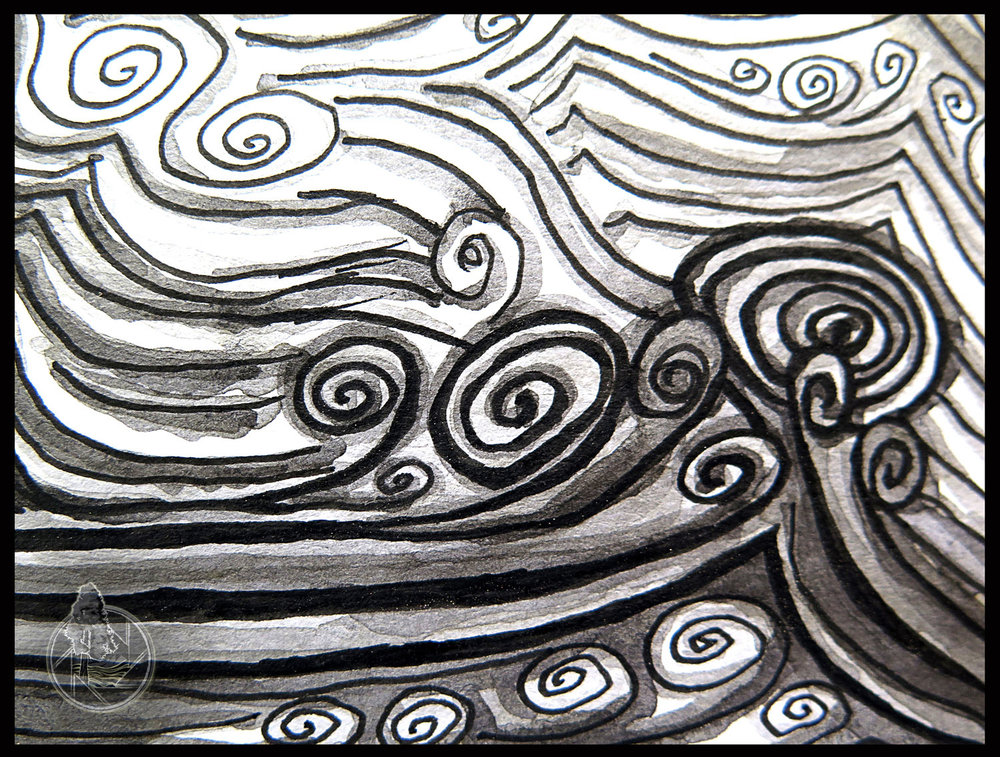 Detail of Big Kahuna Wave. Lava Rapid is one of the largest and most respected rapids on the Colorado River and in its mess of whitewater sits the Big Kahuna wave, a raft flipping monster.  Medium:   India Ink with a coffee wash.