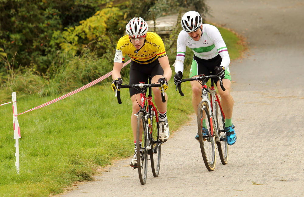 John Buller leads Irish Vets Champion on the fast Irvinestown course.jpg