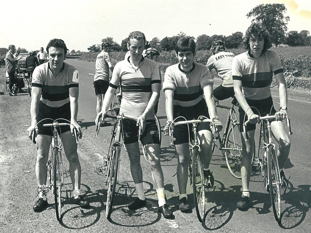 Alan (3rd Right), joined by team mates Gerry Beggs, Billy Maxwell & Seamus Downey.