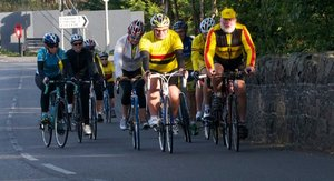 Alongside Pedar McGreevy, Alan leads out a group of local novice cyclists