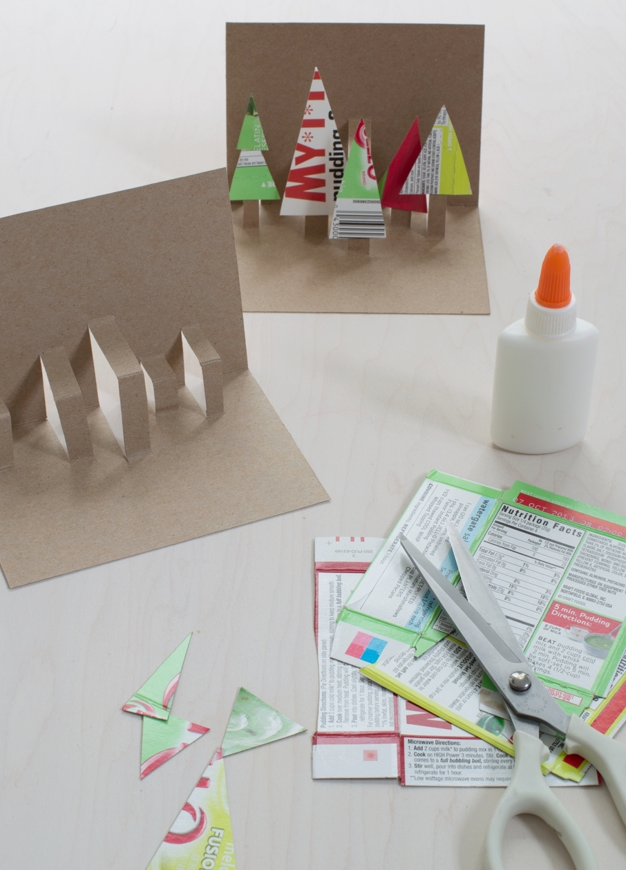 Easy Holiday Pop-Up Cards Made From Recycled Packaging — super make it