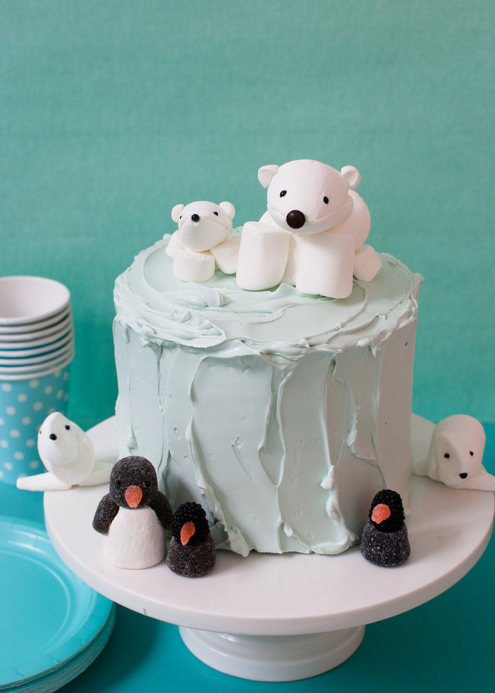 Cute Marshmallow Arctic Animals For A Winter Birthday Cake