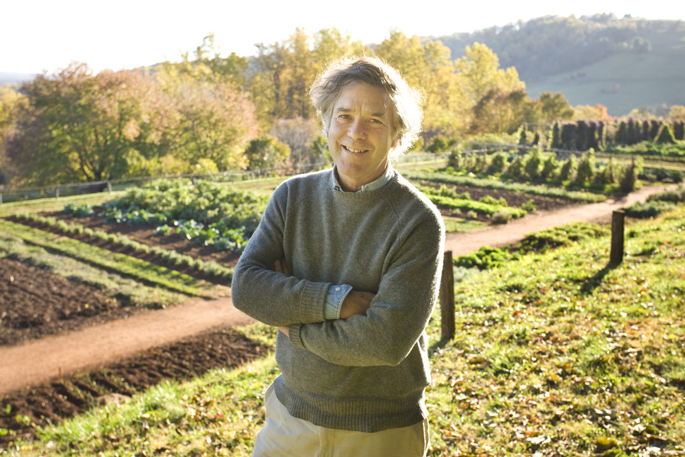 Peter J. Hatch and Monticello Vegetable Garden. Photo by Robert Llewellyn, courtesy of Thomas Jefferson Foundation