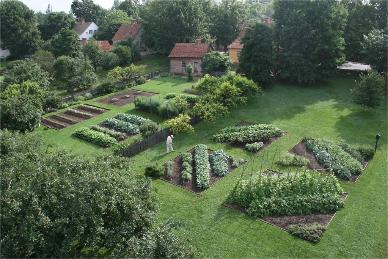 Family Gardens at Old Salem, Winston-Salem, NC, restored by Peter Hatch, 1974 -- 1977