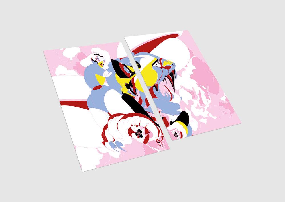 2-parts postcard (front)