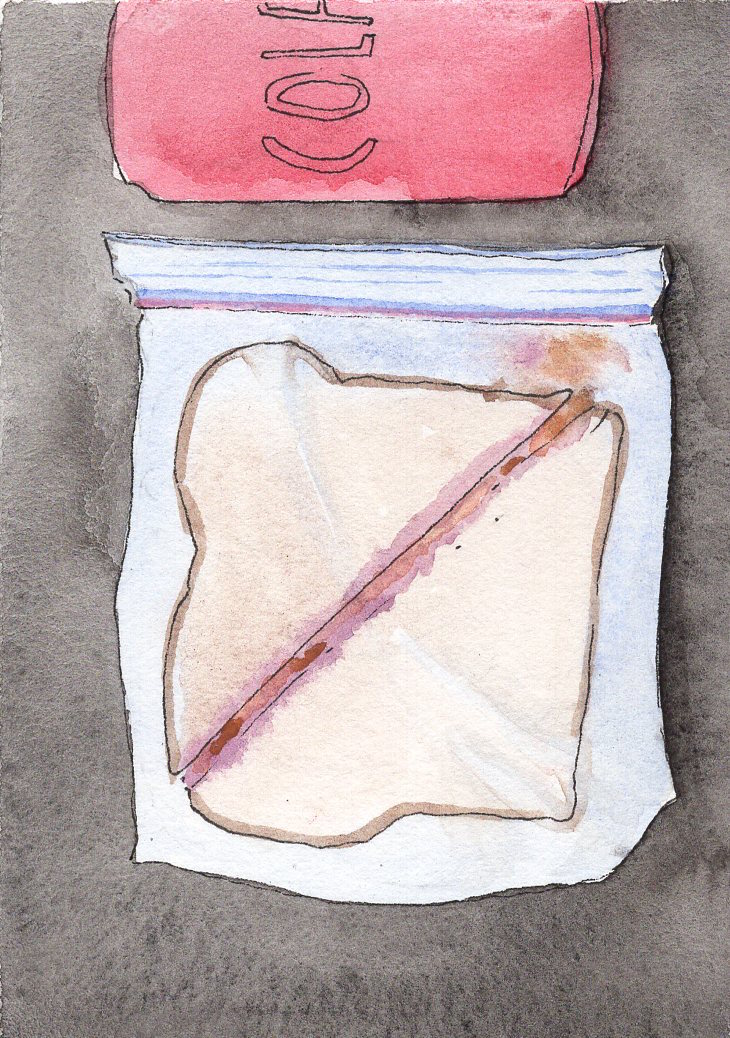 PEANUTBUTTER, 2015 peanut butter and strawberry jam on wheat bread 4 x 5 x 1.5""