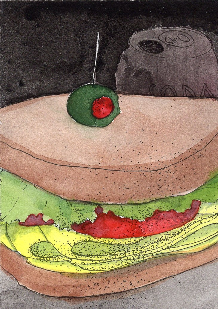 TOMATO-CHEESE, 2015 tomato, provolone cheese and mixed media on whole wheat bread (with sand) 4 x 5 x 2""