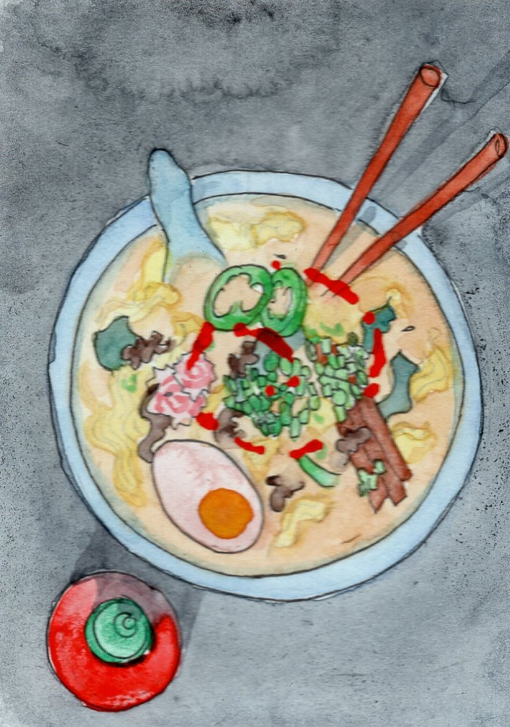 "RAMEN, 2015 (in collaboration with Michi Ramen Kitchen) chopstiicks and mixed media in bowl 6"" diameter"