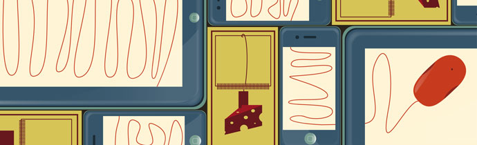 "Web Article Illustration. ""Smartphones vs. tablets: How to avoid the ""mobile"" mousetrap."""