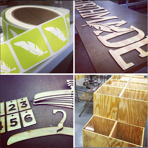 Every detail of the store was made by hand: labels, laser-cut wood signs, the hangers, and the displays.