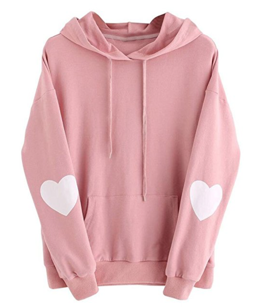 IEason,Womens Long Sleeve Heart Hoodie Sweatshirt Jumper Hooded Pullover Tops Blouse
