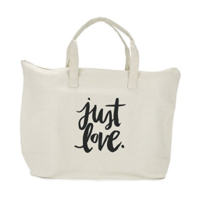 Canvas Tote Bag with Special Saying - Zipper Top, Interior Pocket, 100% Cotton