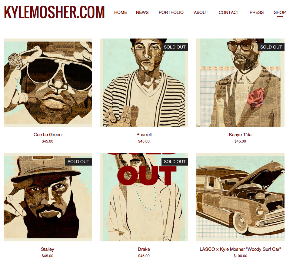 kylemosher.com SHOP page