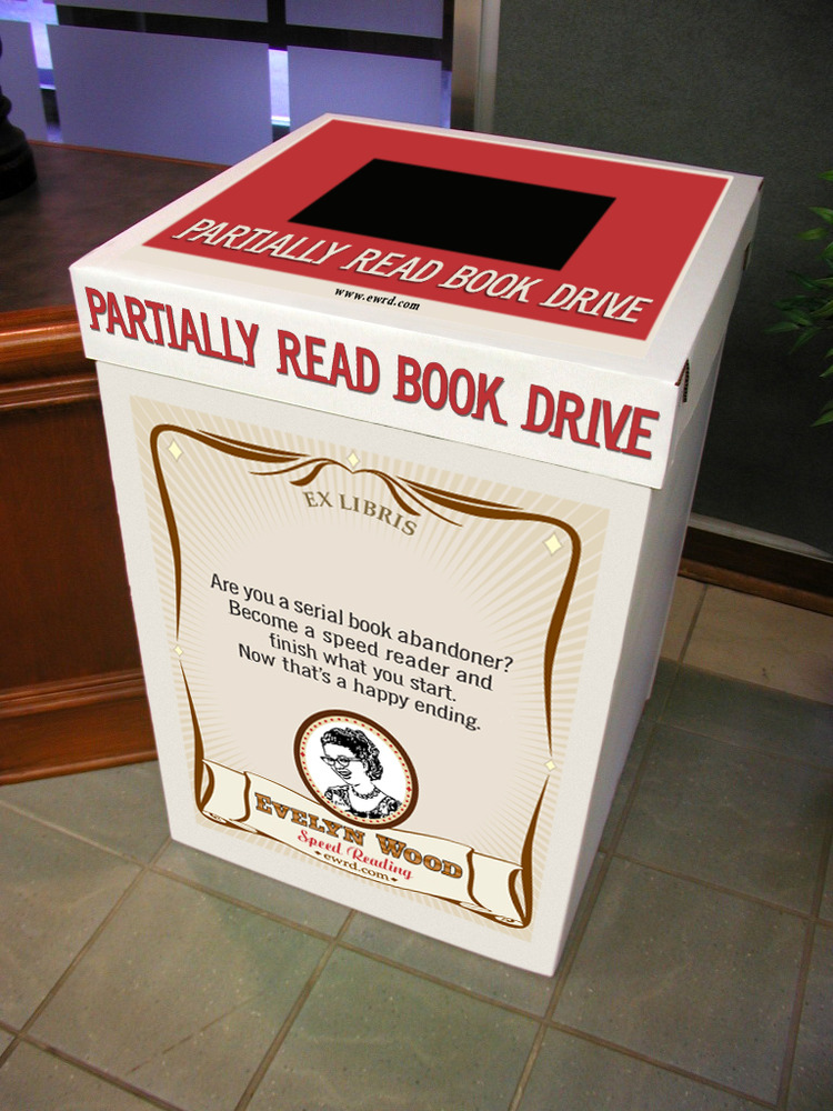 AMBIENT  Placed in coffee shops and on college campuses. Any books actually donated would be given to a literacy non-profit.