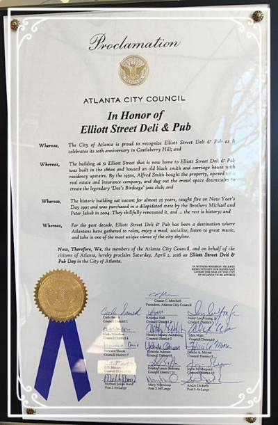 `On April 2, 2016, the Atlanta City Council unanimously voted to declare April 2 `Elliott Street Deli & Pub' day in the city of Atlanta.with an official Proclamation.'