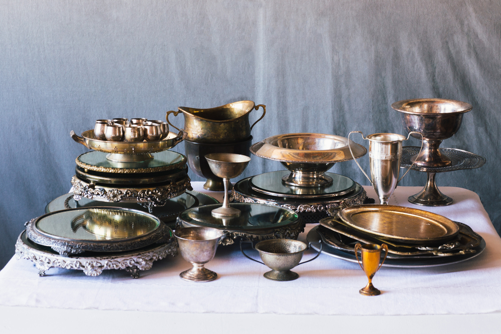 You can rent this unique brass collection from  Nimble Well , a vintage rental company.