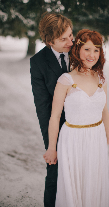 Mignonette Bridal  designs custom dresses like this one- with just the right amount of gold touches.